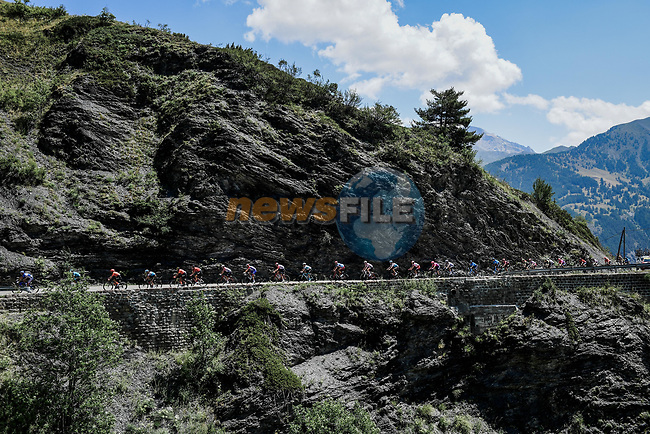 The 34 man breakaway group climb Col de Vars during Stage 18 of the 2019 Tour de France running 208km from Embrun to Valloire, France. 25th July 2019.<br /> Picture: ASO/Pauline Ballet | Cyclefile<br /> All photos usage must carry mandatory copyright credit (© Cyclefile | ASO/Pauline Ballet)