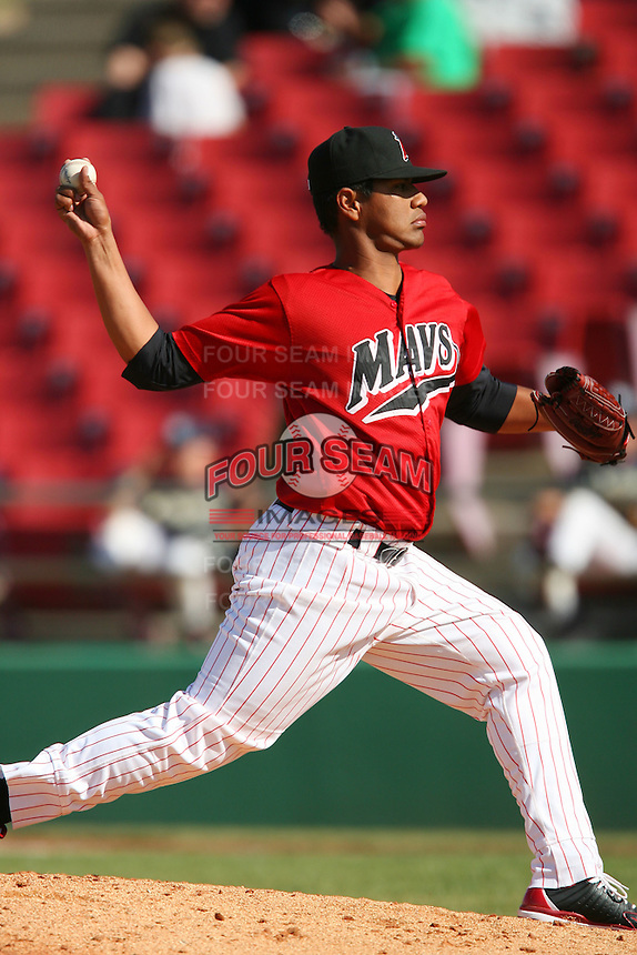April 26 2009: Alfredo Venegas of the High Desert Mavericks during game against the San Jose Giants at Mavericks Stadium in Adelanto,CA.  Photo by Larry Goren/Four Seam Images