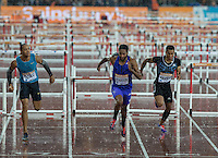 Jason RICHARDSON of USA (110m Hurdles) wins the 2nd heat during the Sainsburys Anniversary Games Athletics Event at the Olympic Park, London, England on 24 July 2015. Photo by Andy Rowland.