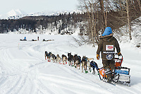 Robert Sorlie on the Skwentna River on the trail between the Finger Lake and Rainy Pass checkpoint during Iditarod 2016.  Alaska.  March 07, 2016.  <br /> <br /> Photo by Jeff Schultz (C) 2016 ALL RIGHTS RESERVED
