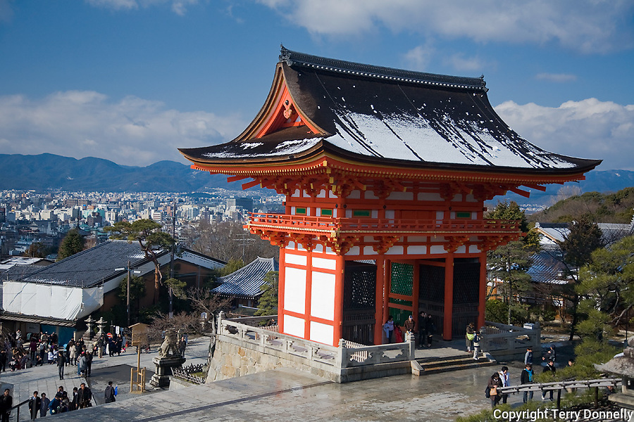 Kyoto City,  Japan<br /> Kiyomizu Temple, temple gate with pagoda style roof line
