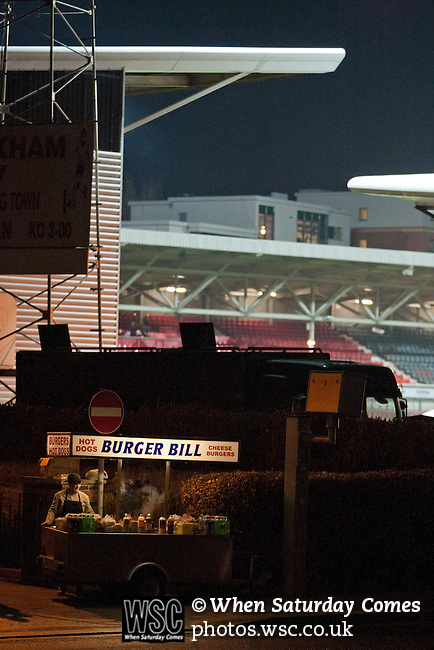 Wrexham 1 Brighton & Hove Albion 1, 18/01/2012. Racecourse Ground, FA Cup 3rd Round Replay. A refreshment stall waiting for customers outside the Racecourse Ground, before Wrexham hosted Brighton and Hove Albion in an FA Cup third round replay, played following the teams one-all draw in the first match. The replay was won by Brighton, 5-4 on penalty kicks after the match had ended in a one-all draw after extra time, watch by a crowd of 8316. The visitors played in the Championship, three leagues above their rivals from Wales, who were top of the Conference at the time of the match. Photo by Colin McPherson.
