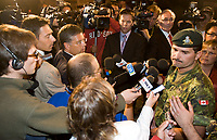 Valcartier, August 22, 2007 - Lieutenant-Colonel Hercule Gosselin speaks to the medias at the Canadian Force Base Valcartier after the death of two soldiers from the base in Afghanistan August 22, 2007.