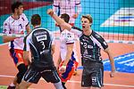 29.10.2017, Arena Kreis Dueren, Dueren<br />Volleyball, Bundesliga MŠnner / Maenner, Normalrunde, SWD powervolleys DŸren / Dueren vs. United Volleys RheinMain<br /><br />Jubel Tim Broshog (#3 Dueren), Marvin Prolingheuer (#8 Dueren)<br /><br />  Foto &copy; nordphoto / Kurth