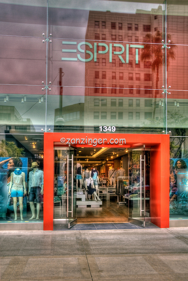 Esprit, Clothing Store, Third Street Promenade, Downtown,  stores, shopping, street mall, Santa Monica; CA;