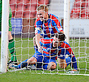 CALEY'S NICK ROSS IS CONGRATULATED BY RICHIE FORAN AFTER HE SCORES INVERNESS' EQUALISING GOAL