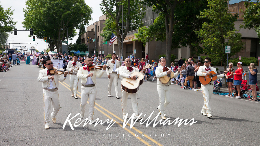 The Mariachi Monarcas Band, Colors of Freedom Parade, 4th of July, Everett, WA, USA.