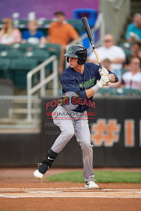 Vermont Lake Monsters Logan Davidson (3) at bat during a NY-Penn League game against the Aberdeen IronBirds on August 19, 2019 at Leidos Field at Ripken Stadium in Aberdeen, Maryland.  Aberdeen defeated Vermont 6-2.  (Mike Janes/Four Seam Images)