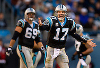 Carolina Panthers quarterback Jake Delhomme (17) against the Detroit Lions during an NFL football game at Bank of America Stadium in Charlotte, NC.