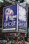 Ghost - The Musical Billboard starring Caissie Levy and Richard Fleeshman. Times Square on August 26, 2012 in New York City.