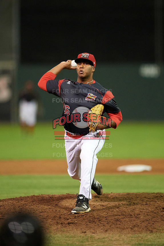 Batavia Muckdogs relief pitcher Alberto Guerrero (36) delivers a pitch during a game against the Mahoning Valley Scrappers on August 29, 2017 at Dwyer Stadium in Batavia, New York.  Batavia defeated Mahoning Valley 2-0.  (Mike Janes/Four Seam Images)