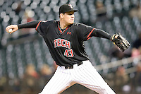 Texas Tech Red Raider pitcher Bobby Doran against Rice on Saturday March 6th, 2100 at the Astros College Classic in Houston's Minute Maid Park.  (Photo by Andrew Woolley / Four Seam Images)