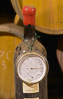 Chateau la Condamine Bertrand. Pezenas region. Languedoc. Barrel cellar. Thermometer. Hygrometer. France. Europe. Bottle.