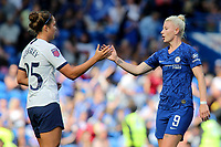 Hannah Godfrey of Tottenham Hotspur Women shakes hands with Chelsea Women's Bethany England at the final whistle during Chelsea Women vs Tottenham Hotspur Women, Barclays FA Women's Super League Football at Stamford Bridge on 8th September 2019