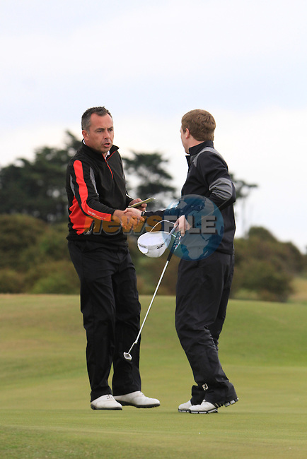 Pat Murray (Limerick) and Gareth Bohill (Co.Louth) on the final day of the East of Ireland Amateur Open Championship 2011 in Co.Louth Golf Club....(Photo credit should read Sinead O'Neill www.newsfile.ie)....This Picture has been sent you under the conditions enclosed by:.Newsfile Ltd..The Studio,.Millmount Abbey,.Drogheda,.Co Meath..Ireland..Tel: +353(0)41-9871240.Fax: +353(0)41-9871260.GSM: +353(0)86-2500958.email: pictures@newsfile.ie.www.newsfile.ie.
