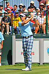 30 August 2009: Ian Poulter of England tees off on the 1st tee in the final round of The Barclays PGA Playoffs at Liberty National Golf Course in Jersey City, New Jersey.