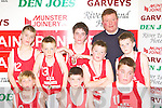 Castleisland Boys National School that was defeated in the NS boys final on Tuesday front row l-r: Shane McLoughlan, Cian O'Connor, Garret O'Connell. Back row: Shane O'Connell, Sean O'Donoghue, Luke Lyons,Colin McCarthy Timmy Nelligan coach and Brian Leonard