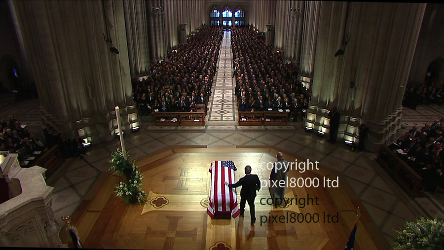 Pic shows: George Bush funeral<br /> <br /> George W breaks down<br /> <br /> <br /> <br /> <br /> <br /> <br /> supplied by Pixel8000 Ltd