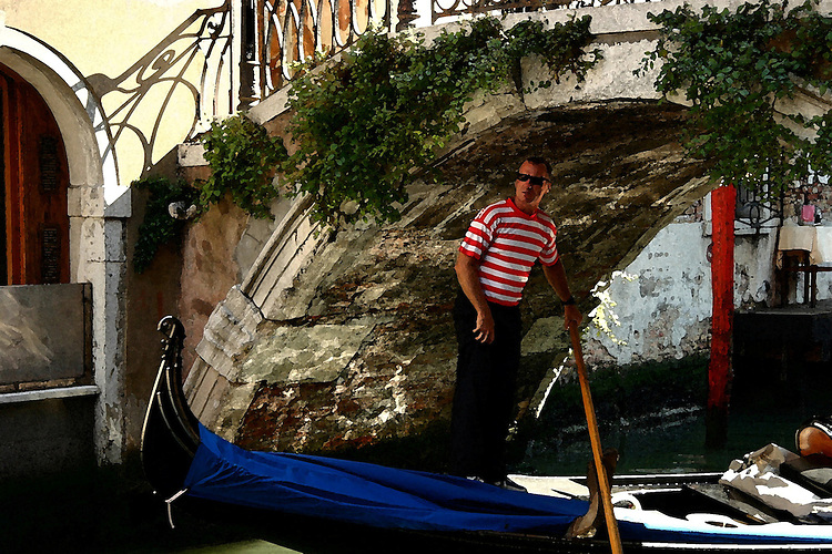 Venetian gondolier passing under a bridge (watercolor effect)
