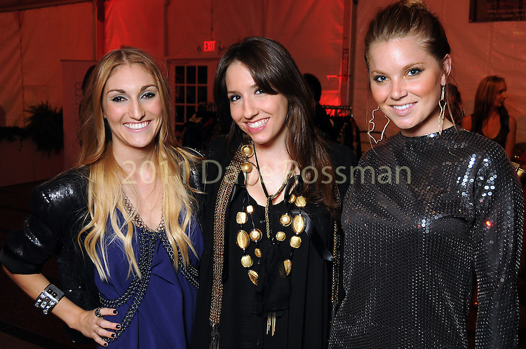 Heather Hill, Jessica Fontenot and Stephanie Boles at the second night of Fashion Houston at the Wortham Theater Monday Oct. 10,2011.(Dave Rossman/For the Chronicle)