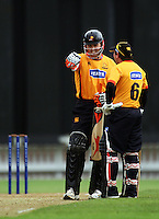 Wellington's second-wicket partnership Matthew Bell and BJ Crook during the State Shield cricket match between the Wellington Firebirds and Central Stags at Allied Prime Basin Reserve, Wellington, New Zealand on Sunday, 11 January 2009. Photo: Dave Lintott / lintottphoto.co.nz