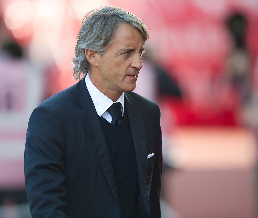 Manchester City's Manager Roberto Mancini ..Football - Barclays Premiership - Stoke City v Manchester City - Saturday 15th September 2012 - Britannia Stadium - Stoke..