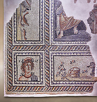 Roman mosaics - Seasons  Mosaic. Telete Villa.  2nd - 3rd century AD . Zeugma Mosaic Museum, Gaziantep, Turkey.   Against an art background.<br /> <br /> Seasons mosaic Telete, was unearthed during the rescue excavations y Gaziantep Museum in 1994 when it was about to be stolen by the traffickers. It is the floor mosaic of a villa terrace located on the western skins of Zeugma hill <br /> <br /> The pane% consists of nine parts. At the central panel, Eros, who Is a mythological character and who has a crown on his head, sits side by side with Telete, the daughter of Dionysus. This representation symbolises the preparation of a young woman who is just about to taste the love and to become mature. There are busts of seasonal gods In the square panels at the corners. The crowned head of the Spring Goddess Ear Is slightly towards right. She wears a floral necklace. Her righr shoulder is naked and the crimps of her cloak are seen on her left shoulder. There is the bust of the river god on the top-right of the Telete panel. A kid lying on the grass and a bucket are pictured in the lower rectangular panel. In the western-side rectangular panel, on the other hand, there are four fish going in and out of a game basket. There is a rabbit figure within the rectangular panel on the right. Mythical narrations and natural life are intertwined in this mosaic.