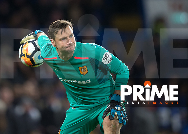 David Marshall of Hull City in action during the FA Cup 5th round match between Chelsea and Hull City at Stamford Bridge, London, England on 16 February 2018. Photo by Vince  Mignott / PRiME Media Images.