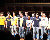 The University of Michigan's 2011 Mock Rock held at Hill Auditorium in Ann Arbor, MI, on February 16, 2011. The Michigan Marching Band took first place, with football coming in second. Proceeds benefit the Child and Family Life program of C.S. Mott Children's Hospital, Michigan Autism Partnership (MAP), and Student-Athletes Leading Social Change (SALSC).