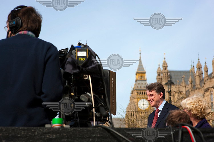First Secretary of State Lord Peter Mandelson is interviewed on College Green in front of the Houses of Parliament in Westminster, London as the date for the upcoming general election is announced.
