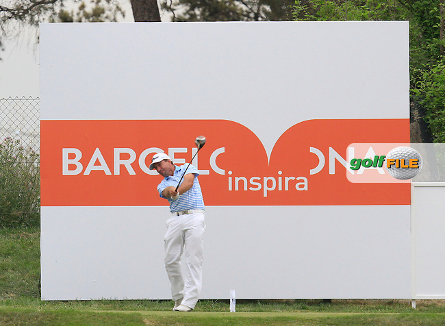 Darren Fichardt (RSA) on the 9th tee during Round 1 of the Open de Espana  in Club de Golf el Prat, Barcelona on Thursday 14th May 2015.<br /> Picture:  Thos Caffrey / www.golffile.ie