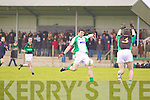 David Clancy of Granagh/Ballingarry trys to block Seamus O'Neill of Na Gaeil in the Muster Junior B Football Final last Sunday afternoon in Knockaderry.