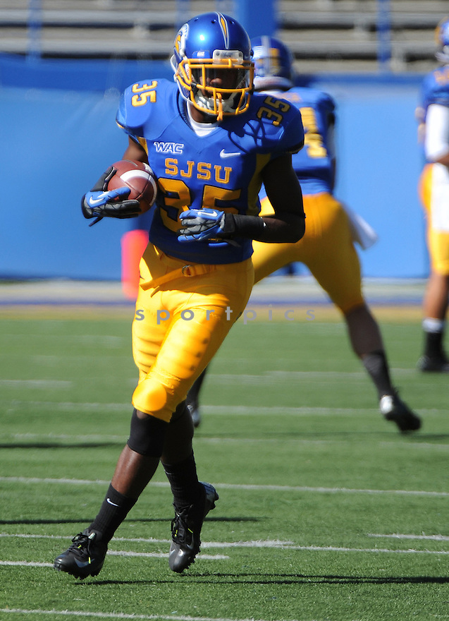 San Jose State Spartans Hansel Wilson (35) in action during a game against Texas State on October 27, 2012 at Spartan Stadium in San Jose, CA. San Jose State beat Texas State 31-20.