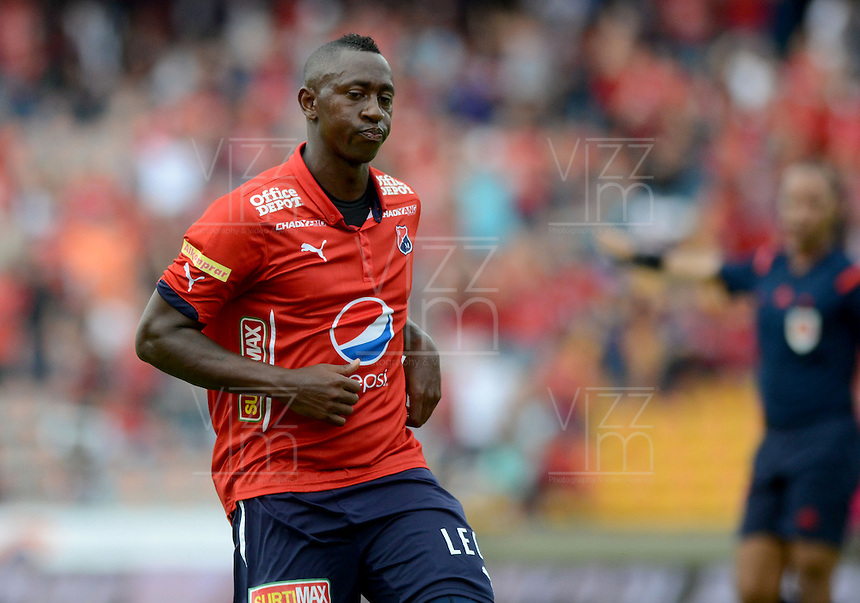 MEDELLÍN -COLOMBIA-09-04-2016. Juan F Caicedo jugador del Medellín celebra un gol anotado a Alianza durante el encuentro entre Independiente Medellín y Alianza Petrolera por la fecha 12 de la Liga Águila I 2016jugado en el estadio Atanasio Girardot de la ciudad de Medellín./ Juan F Caicedo player of Medellin celebrates a goal scored to Alianza during the match between Independiente Medellin and Alianza Petrolera for the date 12 of Aguila League I 2016  played at Atanasio Girardot stadium in Medellin city. Photo: VizzorImage/ León Monsalve /Str