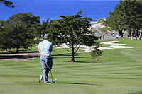Paul Dunne (IRL) waits to play his 2nd shot on the 1st hole during Thursday's Round 1 of the 2018 AT&amp;T Pebble Beach Pro-Am, held over 3 courses Pebble Beach, Spyglass Hill and Monterey, California, USA. 8th February 2018.<br /> Picture: Eoin Clarke | Golffile<br /> <br /> <br /> All photos usage must carry mandatory copyright credit (&copy; Golffile | Eoin Clarke)