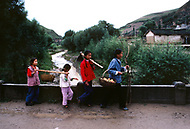 September, 1985. Shaanxi Province, China. People in the streets of Yan'an.