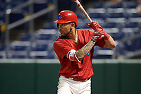 Philadelphia Phillies shortstop J.P. Crawford (12) on deck during a game against the Florida Fire Frogs while on rehab assignment with the Clearwater Threshers on June 1, 2018 at Spectrum Field in Clearwater, Florida.  Florida defeated Clearwater 12-10.  (Mike Janes/Four Seam Images)