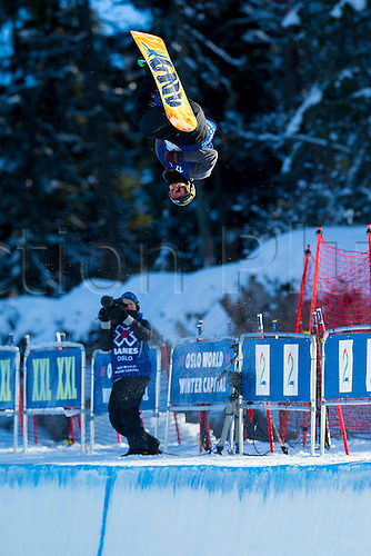 25.02.2016. Wyller Oslo Winter Park, Oslo, Norway.  X Games Oslo 2016. Mens Snowboard SuperPipe Round 1. Brett Esser of United States competes in the men's Snowboard SuperPipe elimination  during the X Games Oslo 2016 at the Wyller Oslo winter park in Oslo, Norway.