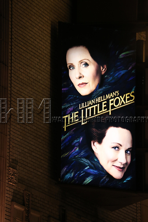 Theatre Marquee for the Broadway Opening Night performance for 'The Little Foxes' at Samuel J. Friedman Theatre on April 19, 2017 in New York City.