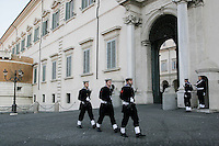 Roma: cambio della guardia al Quirinale..Rome: soldiers march during the changing of the guard ceremony at the Quirinale palace. Quirinale palace is the official residence of Italy's President