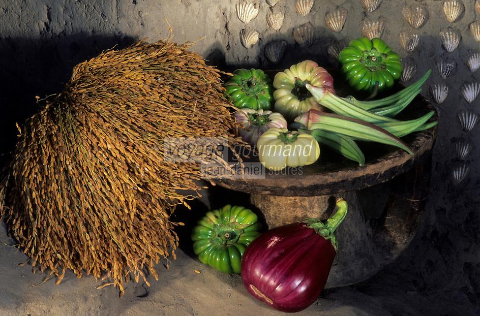 Afrique/Afrique de l'Ouest/Sénégal/Basse-Casamance : Aubergines amères, gombos et riz de Casamance