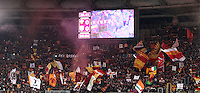Calcio, Serie A: Roma vs Parma. Roma, stadio Olimpico, 17 marzo 2013..AS Roma fans wave flags prior to the start of the Italian Serie A football match between AS Roma and Parma at Rome's Olympic stadium, 17 March 2013..UPDATE IMAGES PRESS/Isabella Bonotto