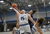 Har-Ber forward Sophie Nelson (15) reacts as she rebounds, Friday, February 7, 2020 during a basketball game at Wildcat Arena at Har-Ber High School in Springdale. Check out nwaonline.com/prepbball/ for today's photo gallery.<br /> (NWA Democrat-Gazette/Charlie Kaijo)