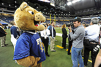 26 December 2010:  FIU's mascot, Roary, poses for a photo in the fourth quarter as the FIU Golden Panthers defeated the University of Toledo Rockets, 34-32, to win the 2010 Little Caesars Pizza Bowl at Ford Field in Detroit, Michigan.