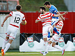 Hamilton Accies v St Johnstone...31.10.15  SPFL  New Douglas Park, Hamilton<br /> Graham Cummins heads St Johnstone into a 1-0 lead<br /> Picture by Graeme Hart.<br /> Copyright Perthshire Picture Agency<br /> Tel: 01738 623350  Mobile: 07990 594431