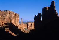 View down Park Avenue-Arches National Park, Utah