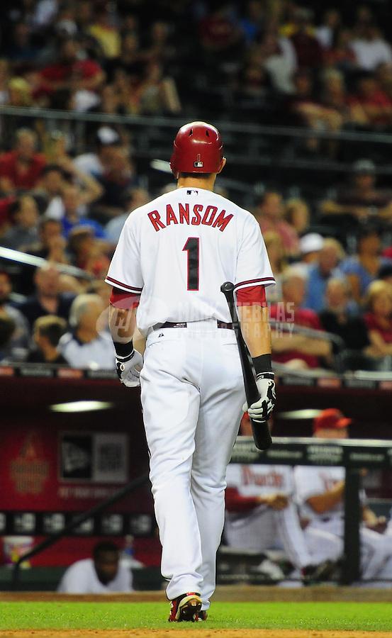 May 8, 2012; Phoenix, AZ, USA; Arizona Diamondbacks infielder Cody Ransom swings during game against the St. Louis Cardinals at Chase Field. Mandatory Credit: Mark J. Rebilas-.