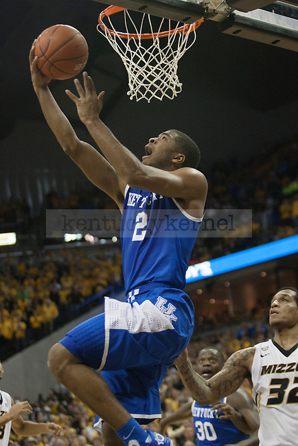 Kentucky Wildcats guard Aaron Harrison (2) goes for the reverse lay-up in the final seconds of the game between the University of Kentucky men's basketball team and University of Missouri in Columbia, Mo.,on Saturday, February 1, 2014. Kentucky defeated Missouri 84-79. Photo by Michael Reaves | Staff