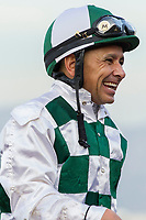 ARCADIA, CA  DECEMBER  30: Jockey Mike Smith is all smiles after winning the American Oaks (Grade l), on December 30, 2017, at Santa Anita Park in Arcadia, CA.(Photo by Casey Phillips/ Eclipse Sportswire/ Getty Images)