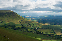 Twmpa viewed from Hay Bluff on Stormy day, Black Mountains, Brecon Beacons national park, Wales